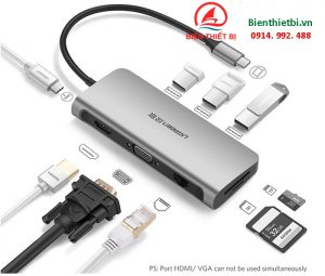Hub USB Type C 9 in 1 To HDMI VGA USB3.0 LAN, sạc PD - Ugreen 40873