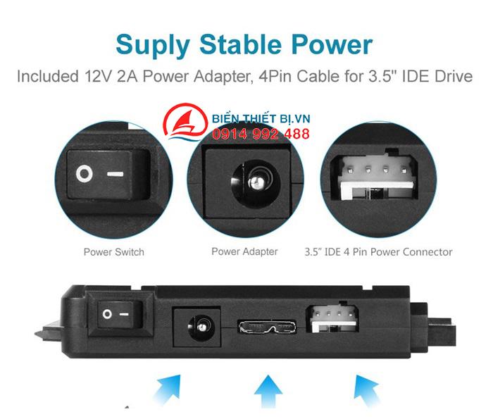 UNITEK Y-3322A chuyển đổi ổ cứng HDD, SSD IDE ATA-SATA ra USB 3.0