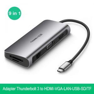 Hub USB Type-C 9in1 to HDMI VGA USB 3.0 LAN hỗ trợ sạc PD Ugreen 40873