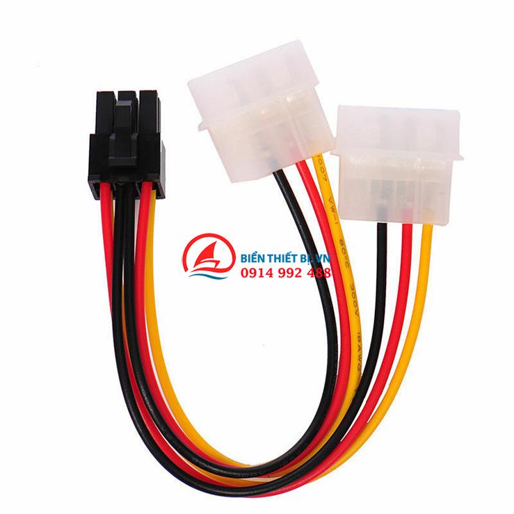 Cáp nguồn 2 IDE 4Pin Molex ra nguồn 6Pin PCI-E cho card VGA