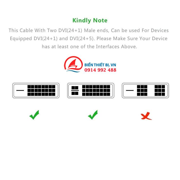 Cáp DVI to DVI cho hình ảnh Video Full HD - Chính hãng Ugreen 11602