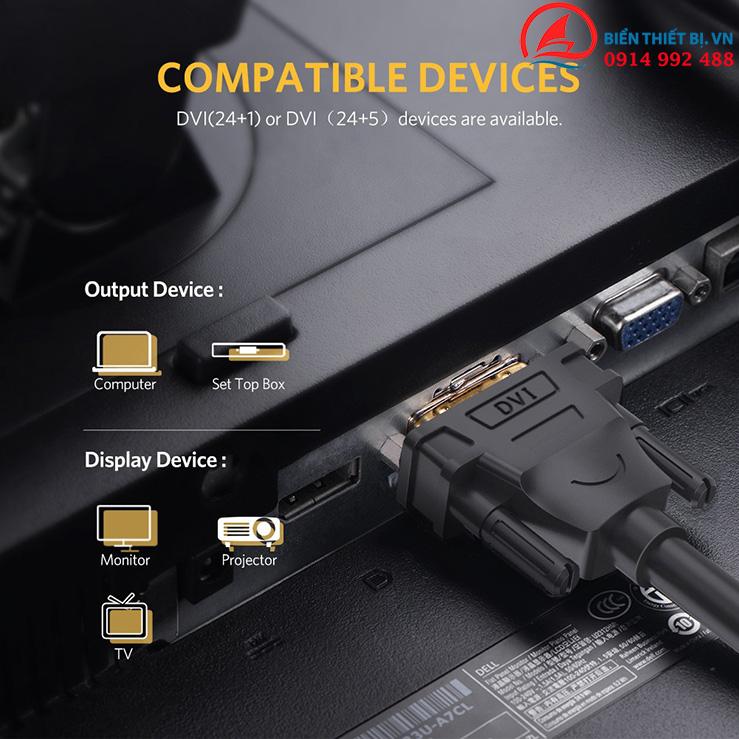 Ugreen 11606 - Cáp kết nối DVI hỗ trợ Full HD