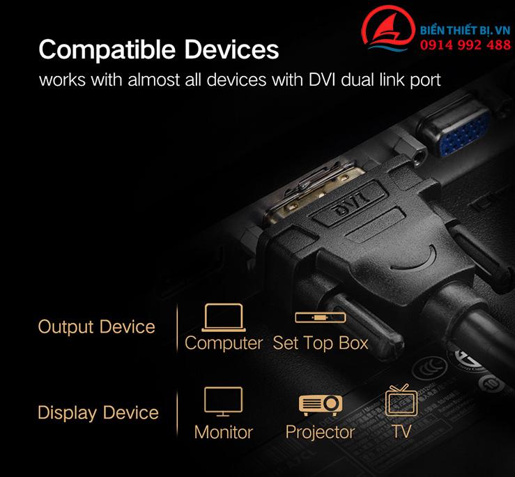 Cáp Video DVI-D 24+1 Dual Link 3m Ugreen 11607 - 2K Full HD