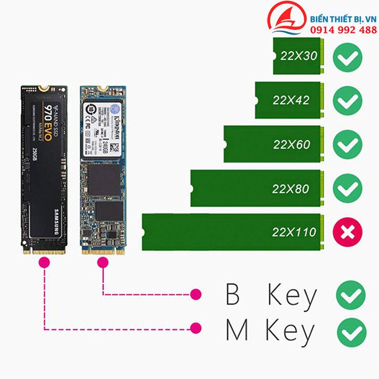 Card PCI-E X4 lắp SSD M.2 NVME và M.2 SATA cho máy tính để bàn