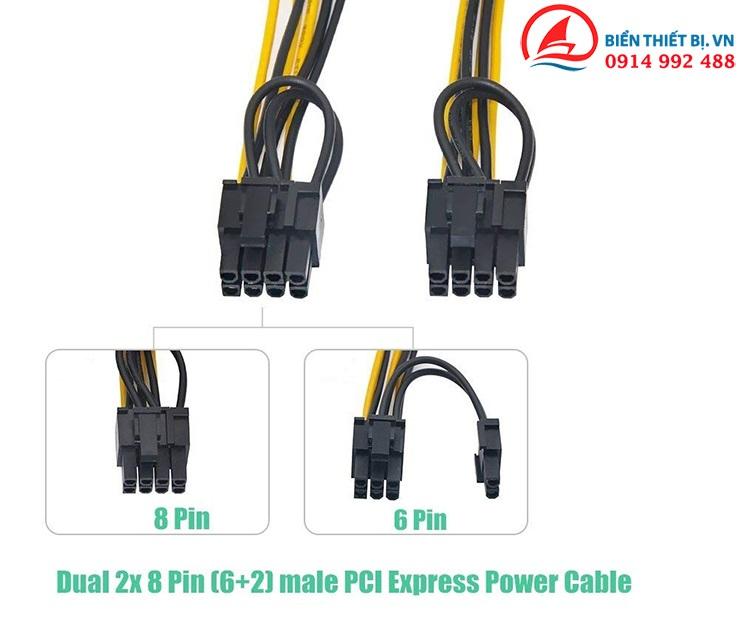 Cáp chuyển đổi nguồn 8Pin CPU ra 2 nguồn PCI-E 8Pin (6+2pin)