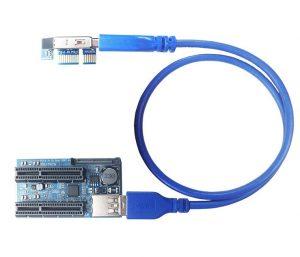 Card riser PCI-E 1X ra 2 PCI-E 4X Cáp mở rộng USB 3.0