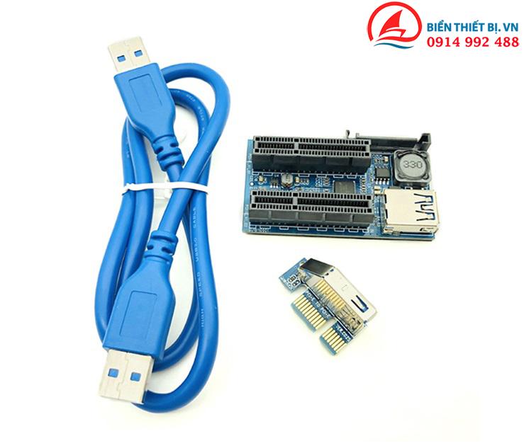 Card riser PCI-E 1X ra 2 PCI-E 4X Cáp mở rộng USB 3.0 dài 60cm