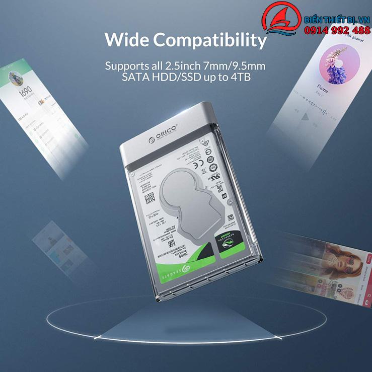 HDD Box 2.5 Inch Orico 2129U3 Hộp đựng Ổ cứng trong suốt