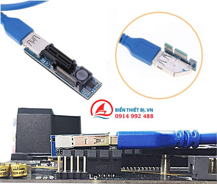 Riser PCIe 1X đến PCIe 1X Cáp USB 3.0 nồi dài 60cm có nguồn phụ