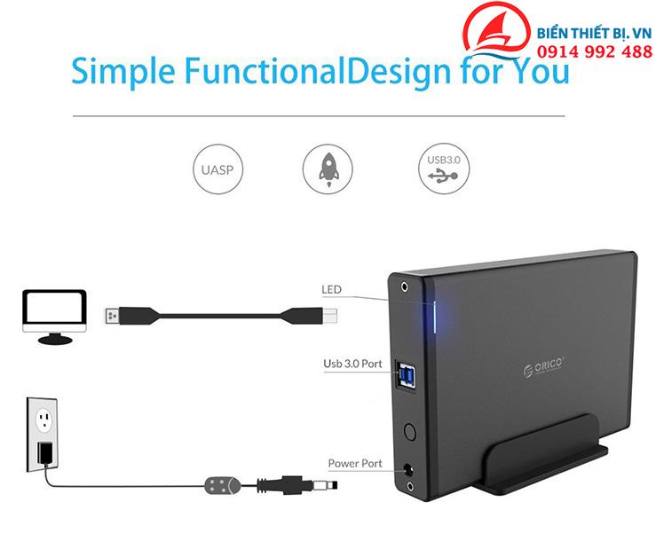 HDD Box Orico 7688U3 Hộp ổ cứng 3.5 inch gắn ngoài hỗ trợ 10TB