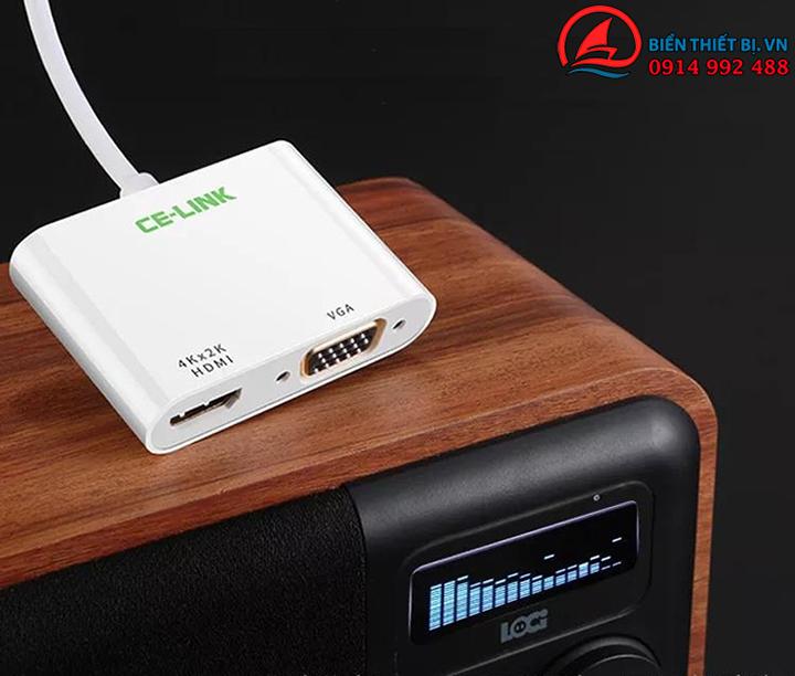 Cáp chuyển đổi USB-C ra HDMI và VGA Thương hiệu CE-Link Hỗ trợ 4k