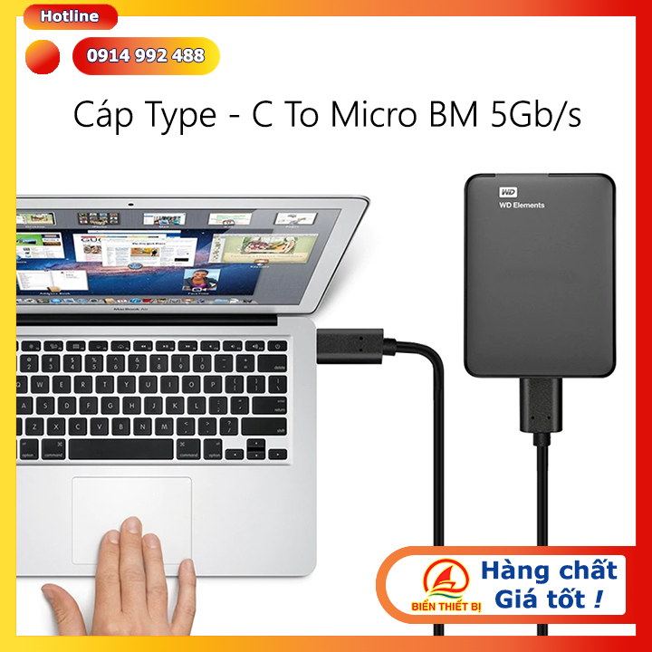 Cáp chuyển đổi USB-C chuẩn giao tiếp USB 3.1 Gen 1 truyền dữ liệu đến và đi