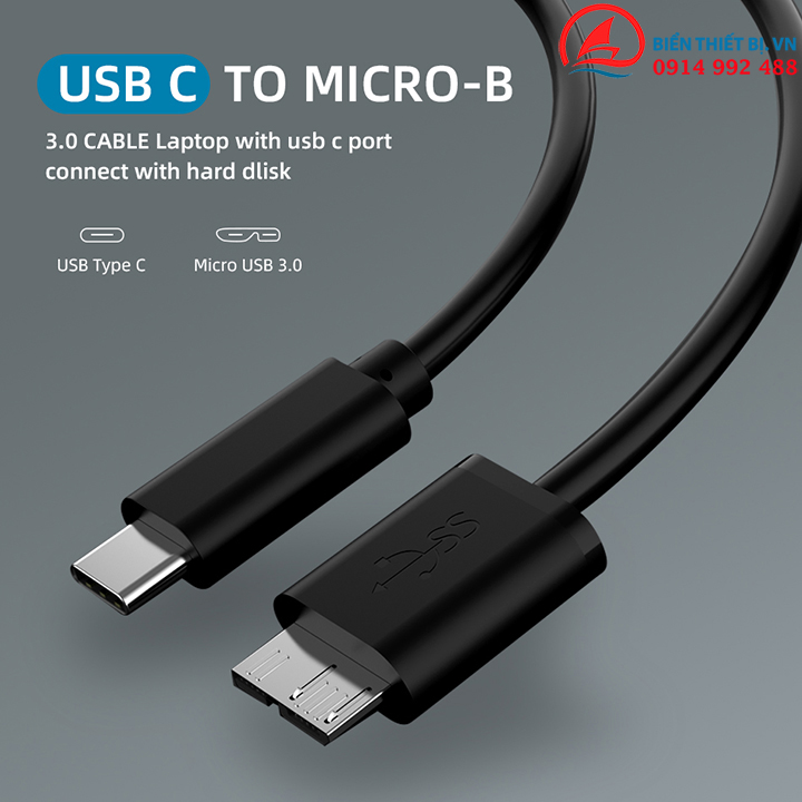 Cáp Type C sang Micro BM 50cm – 5Gbps cho Box ổ cứng cắm ngoài