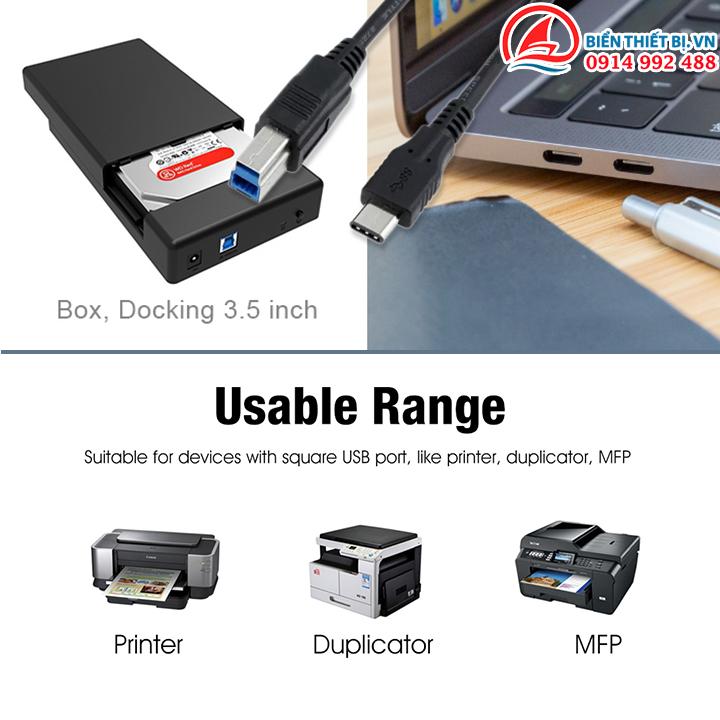 Cable kết nối USB chuẩn B, Cho Laptop, MacBook Pro, Ổ cứng ngoài