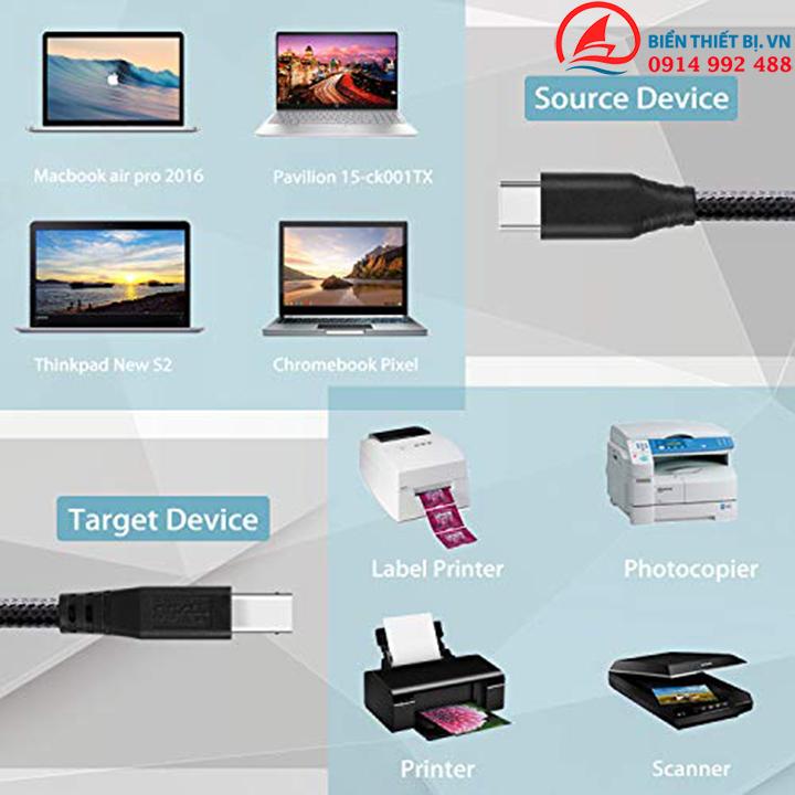 Cáp USB Type C sang USB 3.0 Type B cho HDD Box và Máy in scan