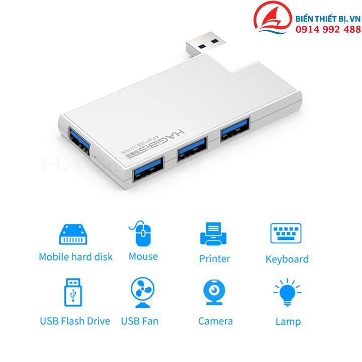 Hub chia USB 3.0-1 ra 4 vỏ nhôm - Bộ chia USB 3.0 cho Surface Pro Laptop