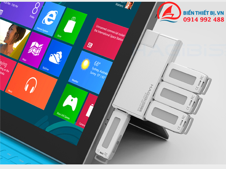 USB 4 Port Hagibis vỏ Aluminum Xoay 180 độ