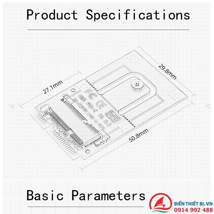 Adapter Card M2 NGFF Key E Wifi Bluetooth To Mini PCI-E cho PC Laptop