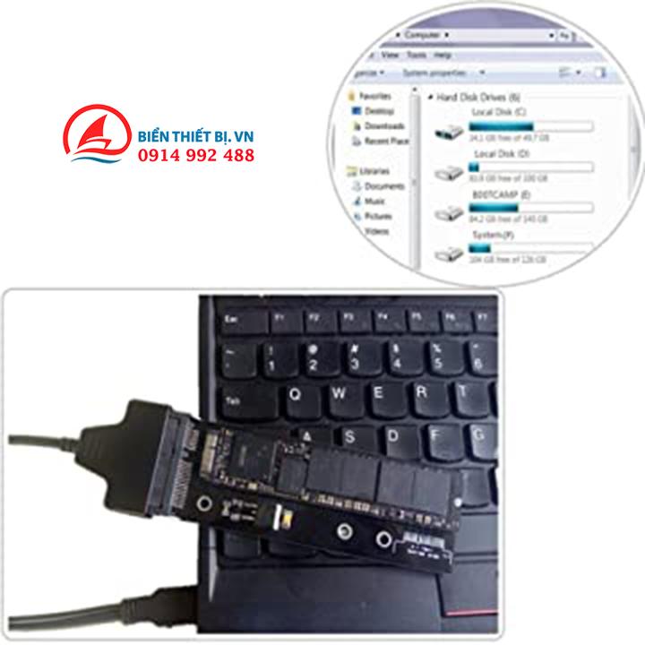 Bộ chuyển đổi Sintech 18pin sang SATA với Cáp USB SATA cho ổ cứng MacBook