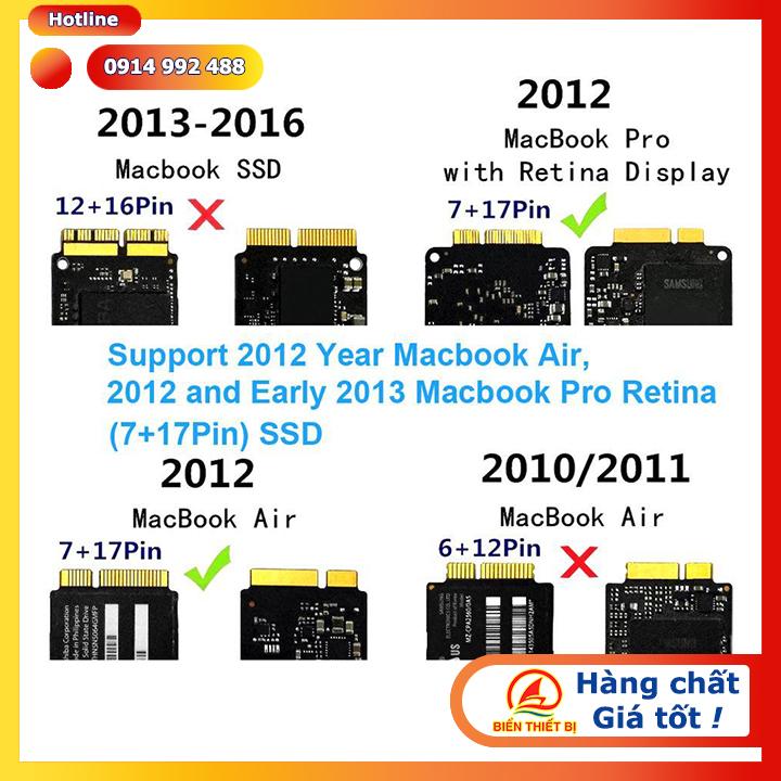 Apple Macbook SSD 2,5 inch SATA 7+17 Pin sang SATA 7+15Pin