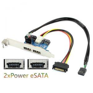 Adapter SATA ra 2 cổng Power eSATA hỗ trợ nguồn 5V 12V