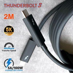 Cáp Thunderbolt 3 dài 2m hình ảnh 5K 4K tốc độ 40Gbps sạc 5A/100W