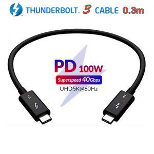 Cáp Thunderbolt 3 (USB-C) tốc độ truyền dữ liệu 40Gbps hỗ trợ 5K 4K@60Hz sạc 20V-5A/100W PD